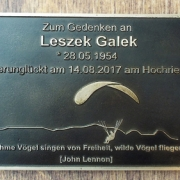 Gedenkentafel Leszek Galek